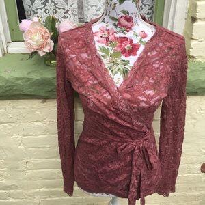 NWOT Dusty Rose/ Mauve Lace Wrap Top